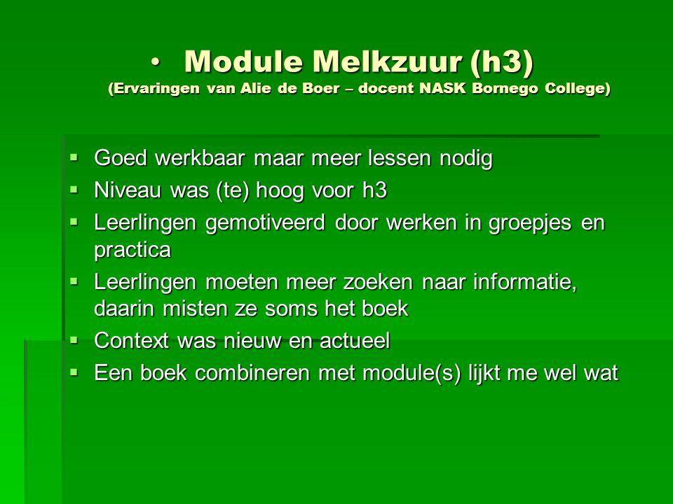 Module Melkzuur (h3) (Ervaringen van Alie de Boer – docent NASK Bornego College)