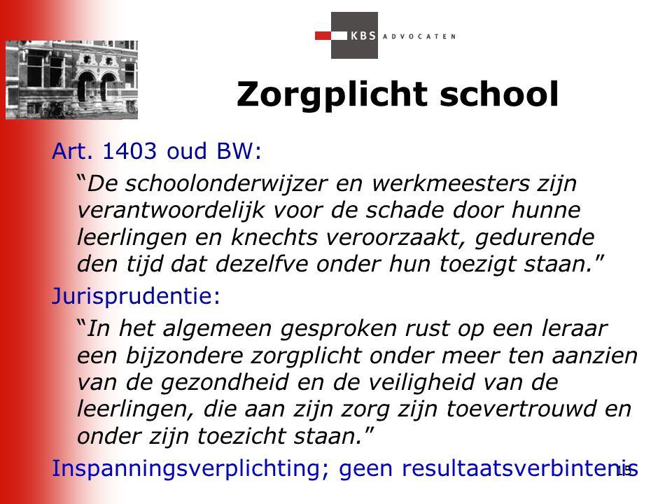 Zorgplicht school Art. 1403 oud BW: