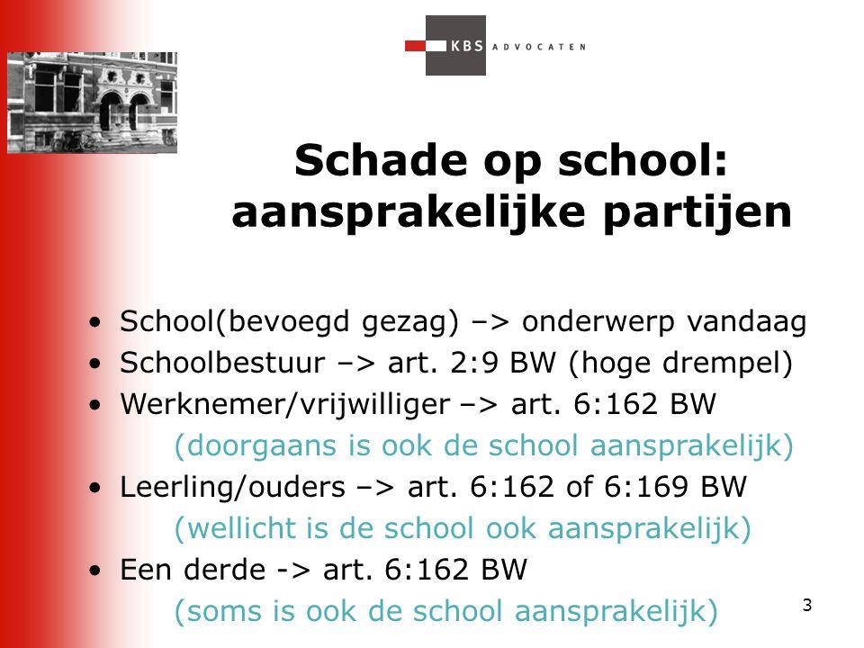 Schade op school: aansprakelijke partijen