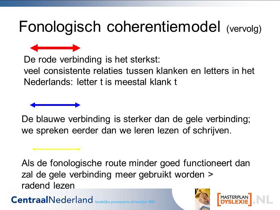 Fonologisch coherentiemodel (vervolg)