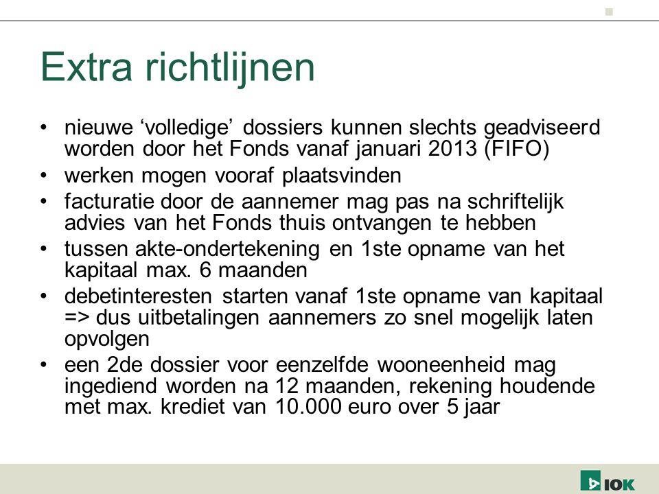 Extra richtlijnen nieuwe 'volledige' dossiers kunnen slechts geadviseerd worden door het Fonds vanaf januari 2013 (FIFO)