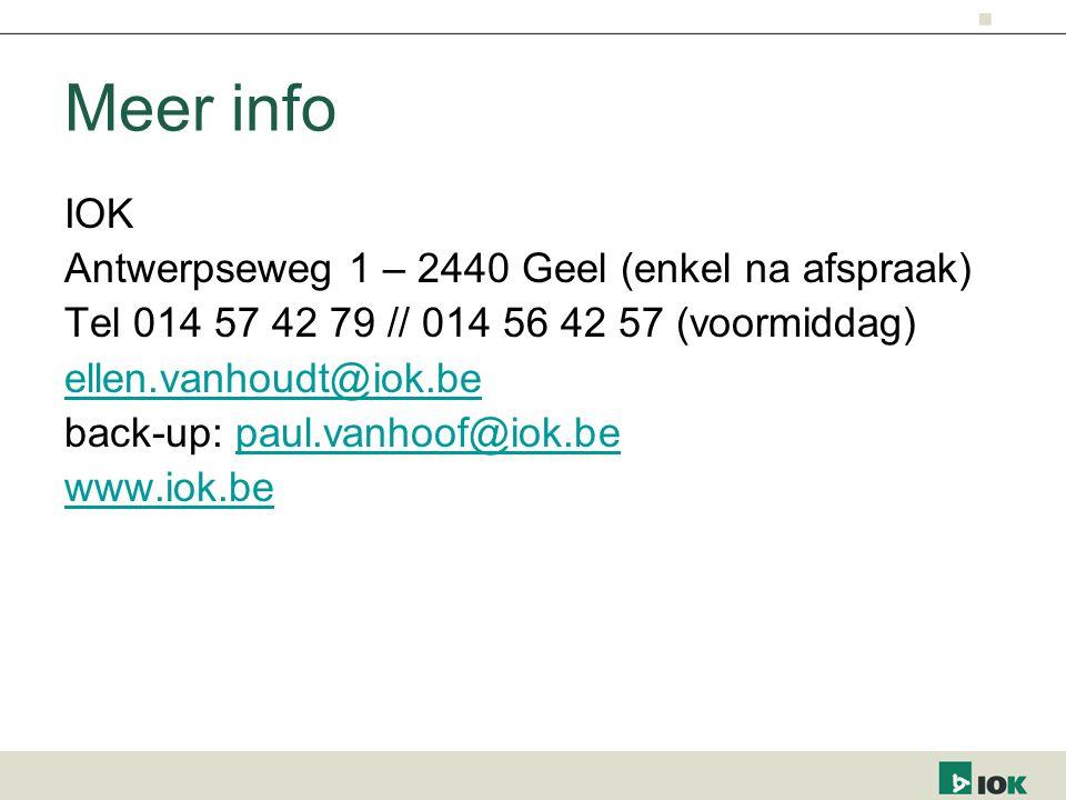 Meer info IOK Antwerpseweg 1 – 2440 Geel (enkel na afspraak)