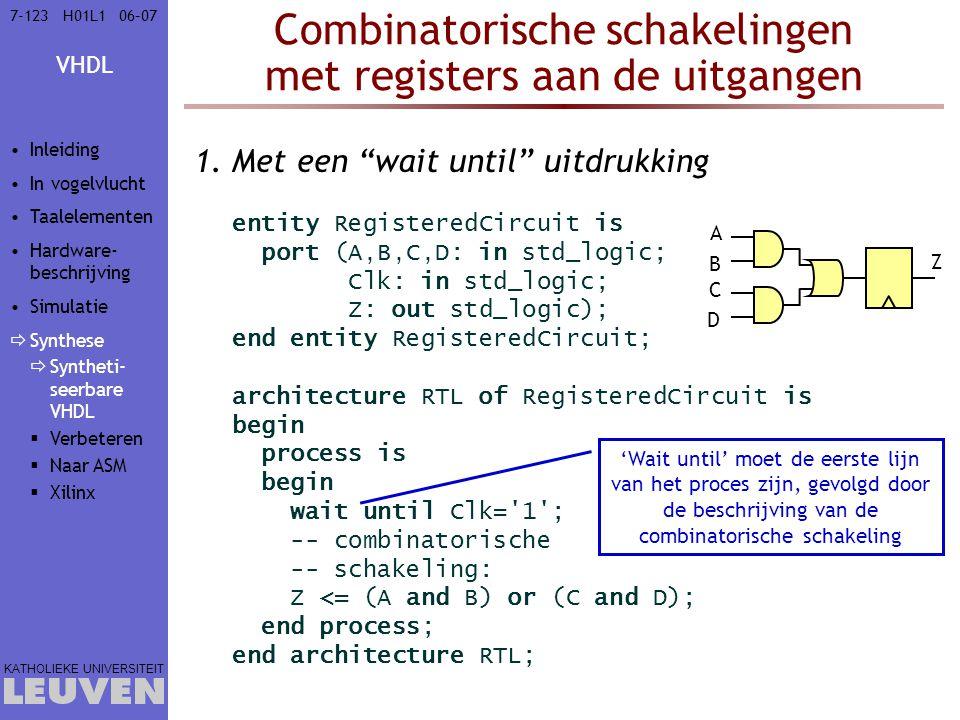 Combinatorische schakelingen met registers aan de uitgangen