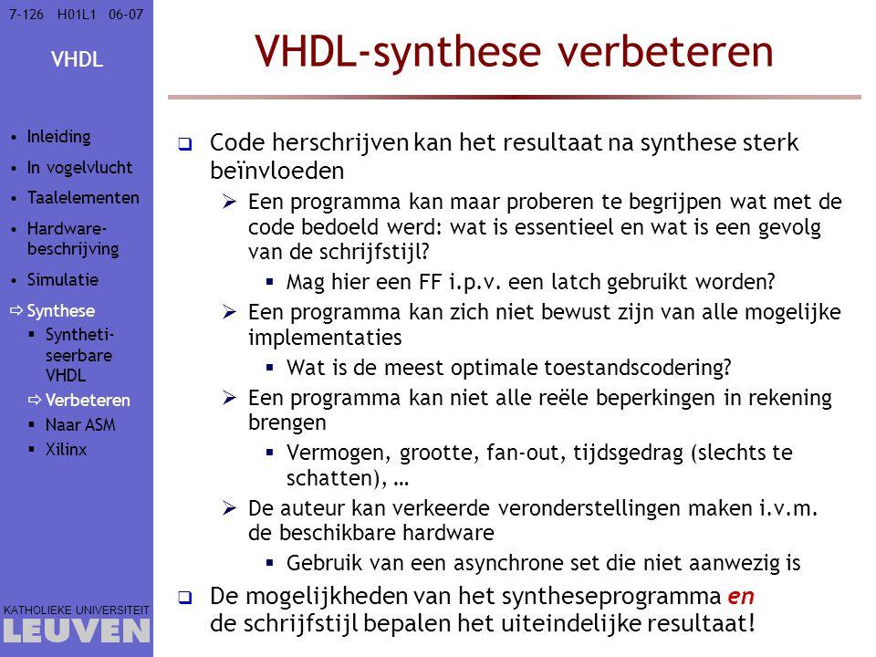 VHDL-synthese verbeteren