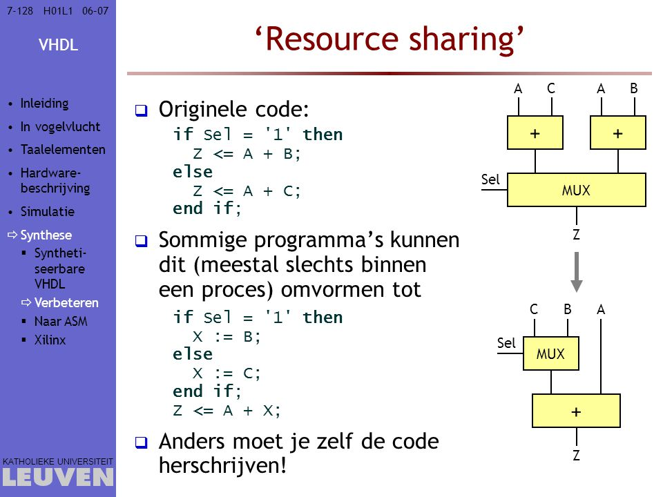 'Resource sharing' Originele code: +