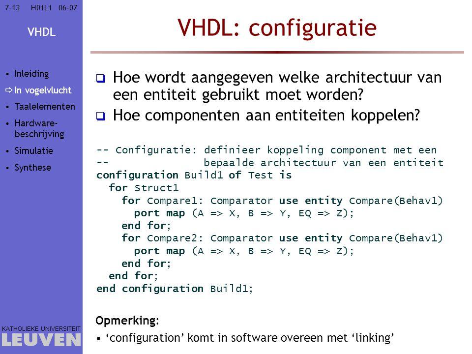 Vak - hoofdstuk VHDL: configuratie. Inleiding. In vogelvlucht. Taalelementen. Hardware-beschrijving.