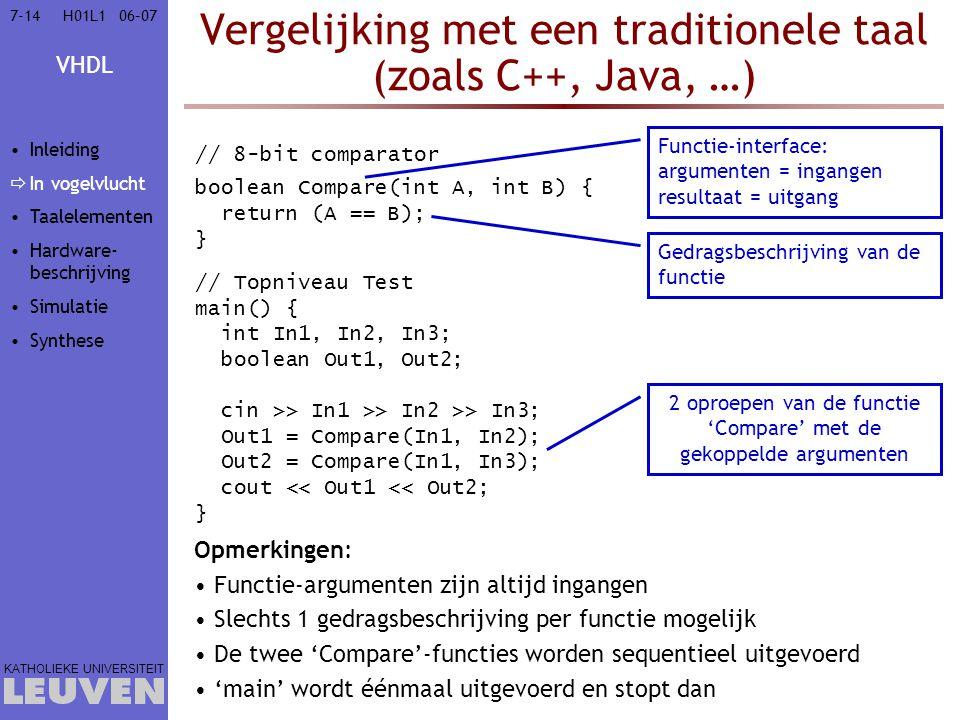 Vergelijking met een traditionele taal (zoals C++, Java, …)