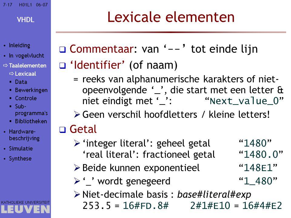 Lexicale elementen Commentaar: van '--' tot einde lijn