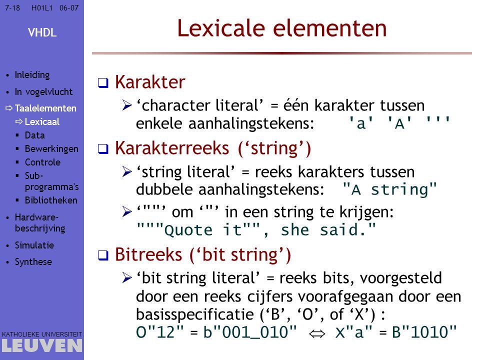 Lexicale elementen Karakter Karakterreeks ('string')
