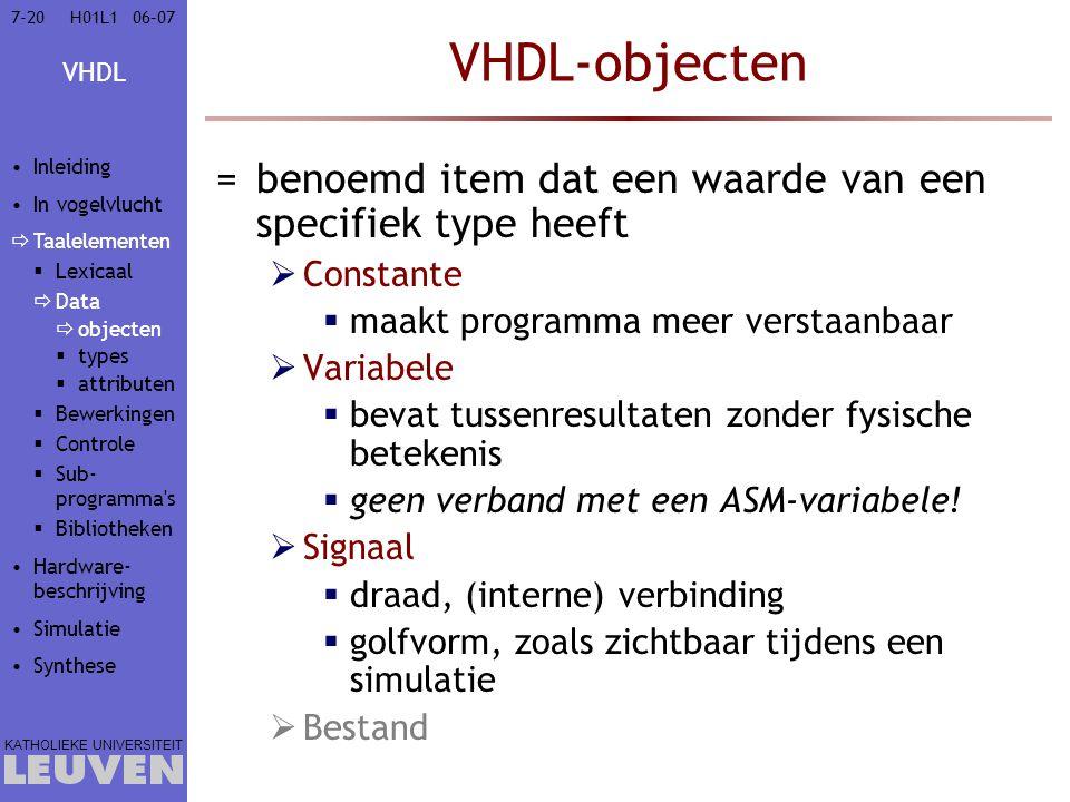 VHDL-objecten benoemd item dat een waarde van een specifiek type heeft