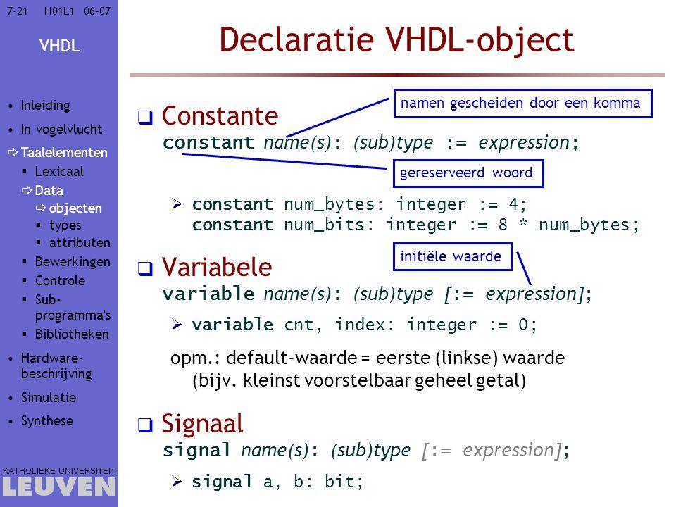 Declaratie VHDL-object
