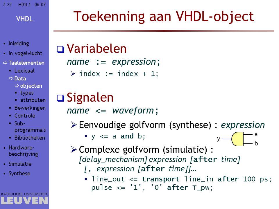 Toekenning aan VHDL-object
