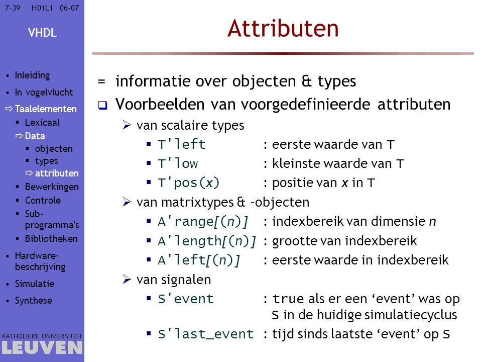 Attributen informatie over objecten & types