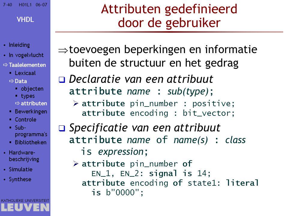 Attributen gedefinieerd door de gebruiker