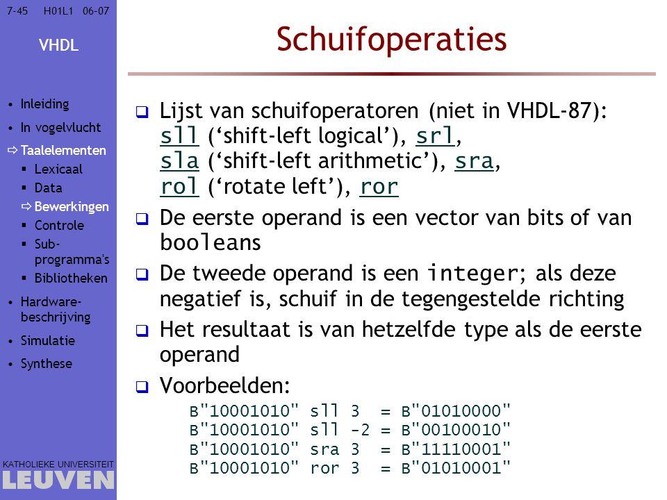 Vak - hoofdstuk Schuifoperaties. Inleiding. In vogelvlucht. Taalelementen. Lexicaal. Data. Bewerkingen.