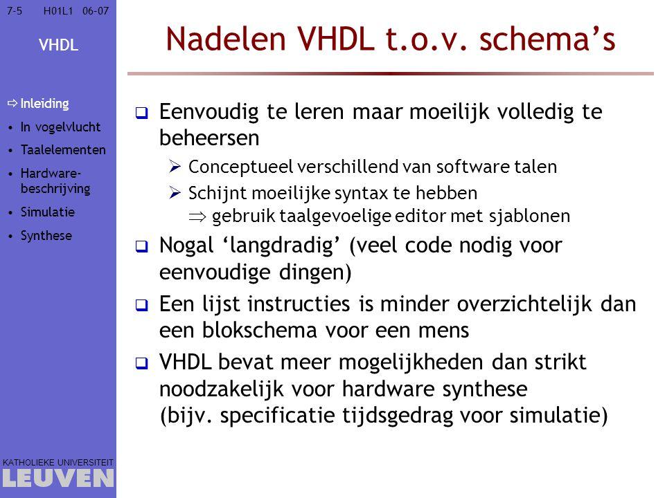 Nadelen VHDL t.o.v. schema's