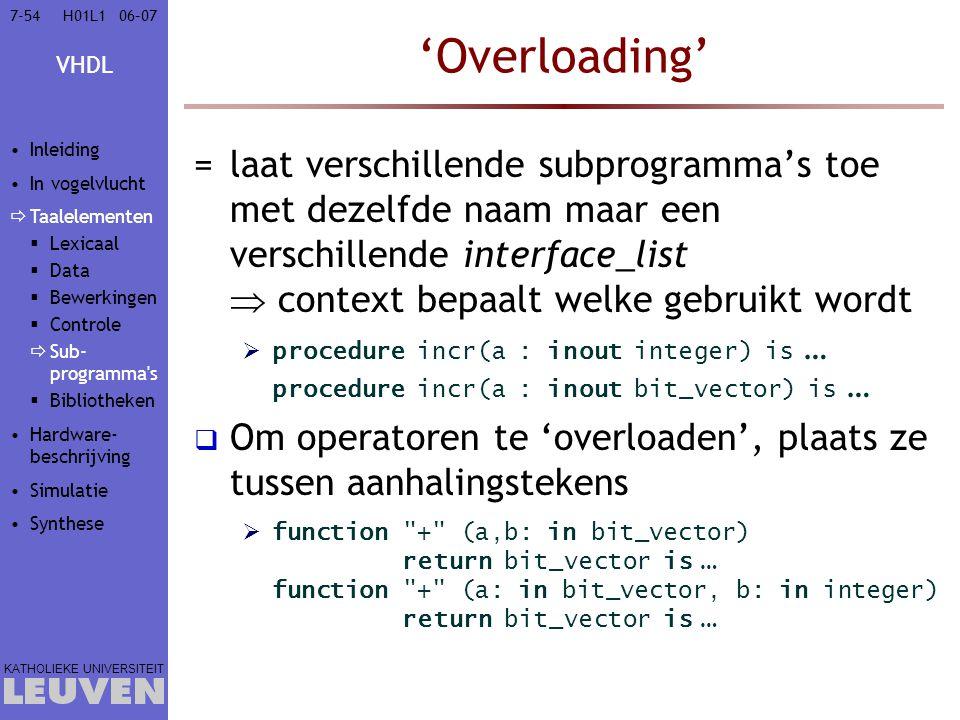Vak - hoofdstuk 'Overloading' Inleiding. In vogelvlucht. Taalelementen. Lexicaal. Data. Bewerkingen.