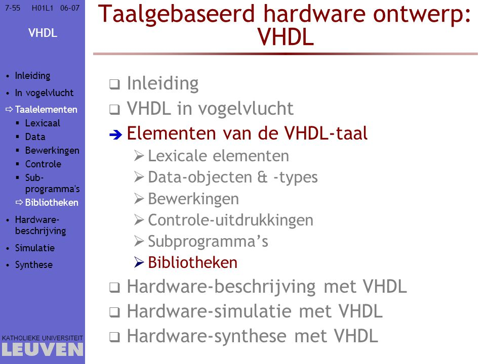 Taalgebaseerd hardware ontwerp: VHDL