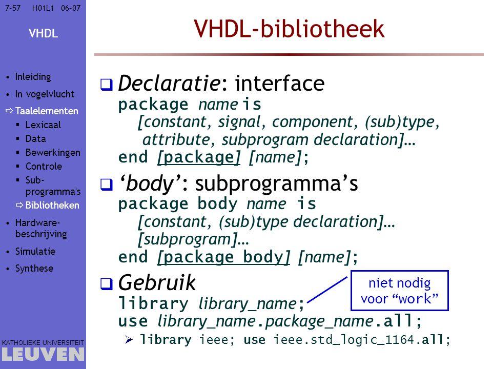 Vak - hoofdstuk VHDL-bibliotheek. Inleiding. In vogelvlucht. Taalelementen. Lexicaal. Data. Bewerkingen.