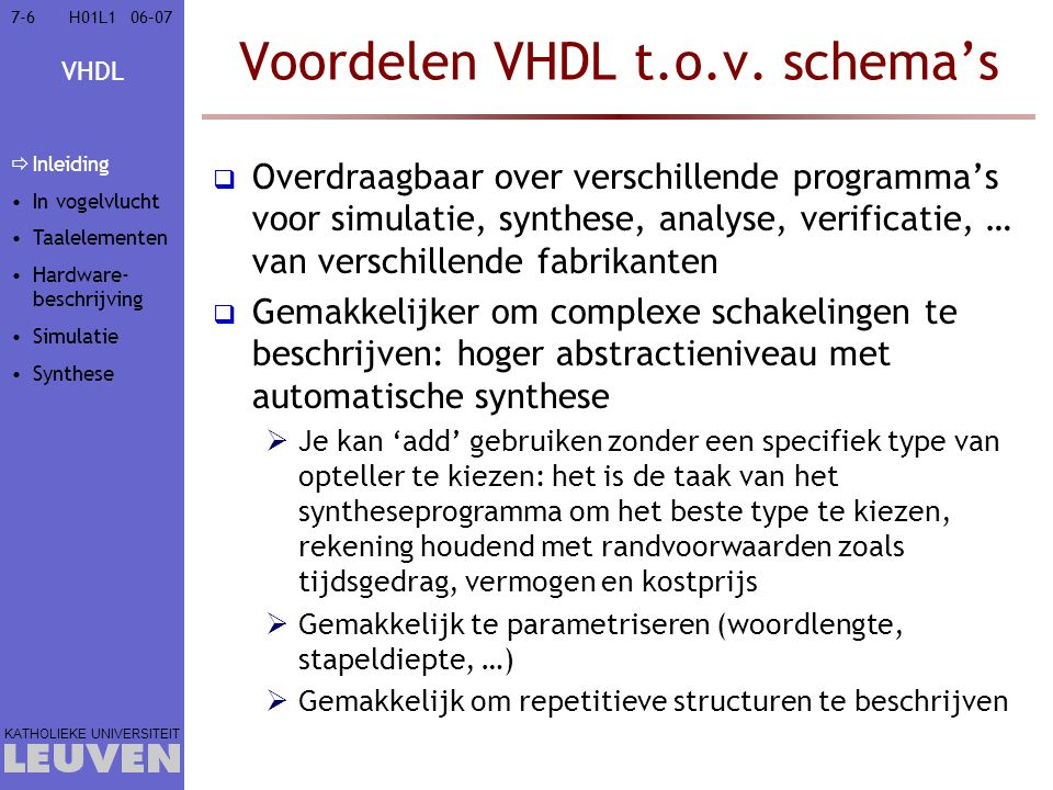 Voordelen VHDL t.o.v. schema's