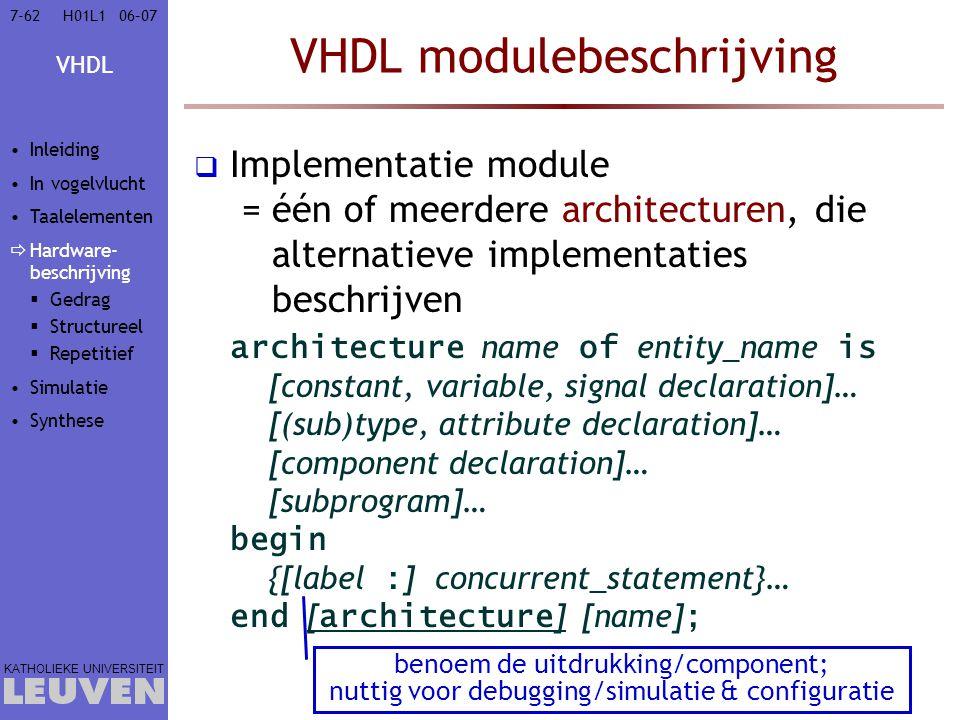 VHDL modulebeschrijving