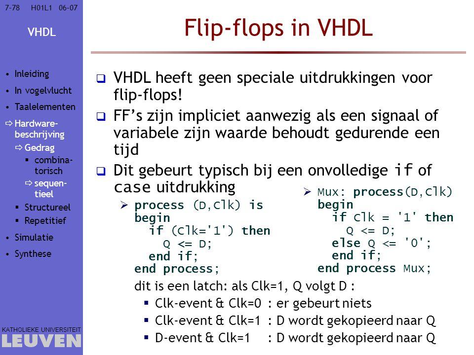 Vak - hoofdstuk Flip-flops in VHDL. Inleiding. In vogelvlucht. Taalelementen. Hardware-beschrijving.