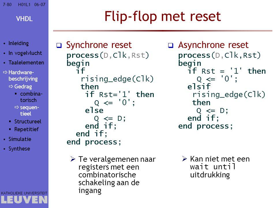 Flip-flop met reset Synchrone reset Asynchrone reset