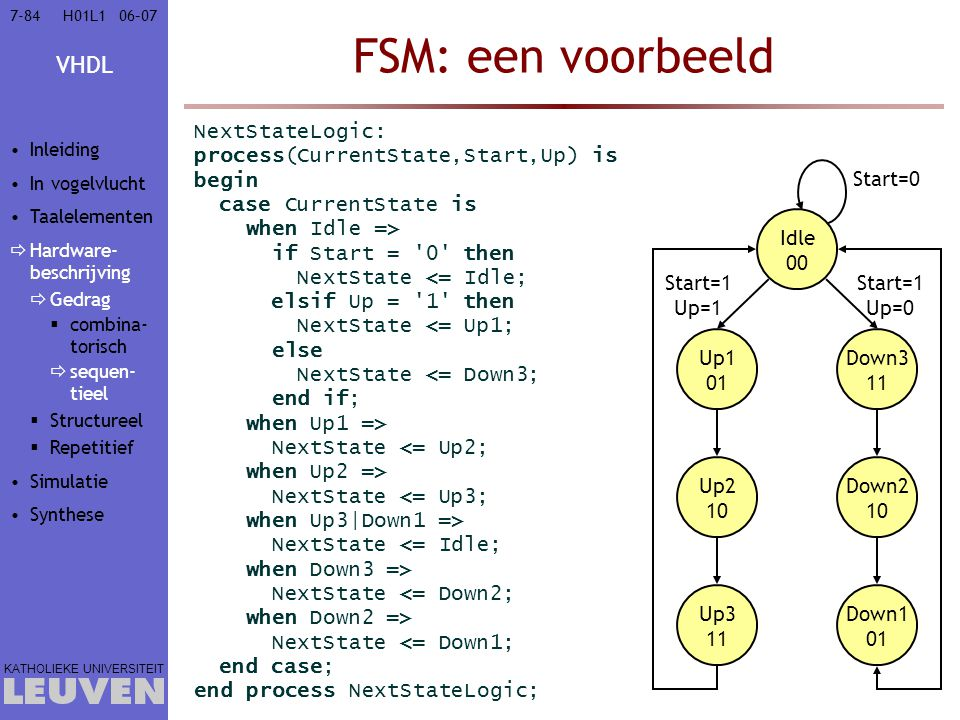 FSM: een voorbeeld NextStateLogic: process(CurrentState,Start,Up) is