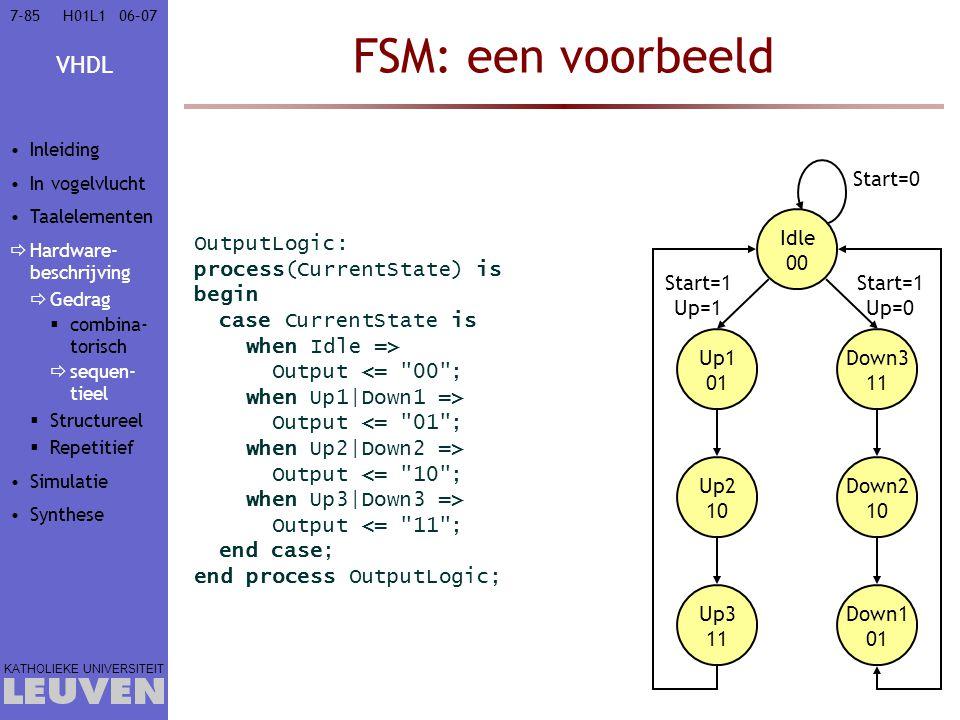 FSM: een voorbeeld Start=0 Idle 00 OutputLogic: