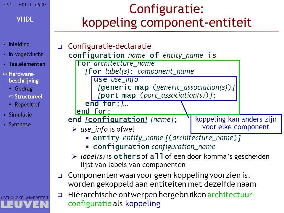 Configuratie: koppeling component-entiteit