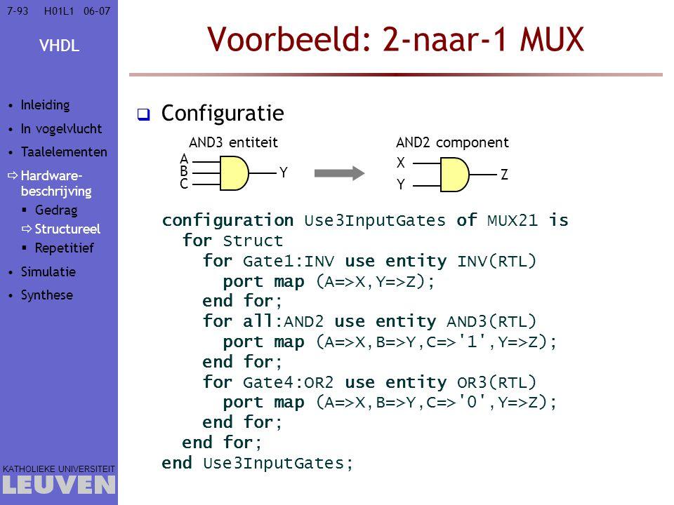 Voorbeeld: 2-naar-1 MUX Configuratie