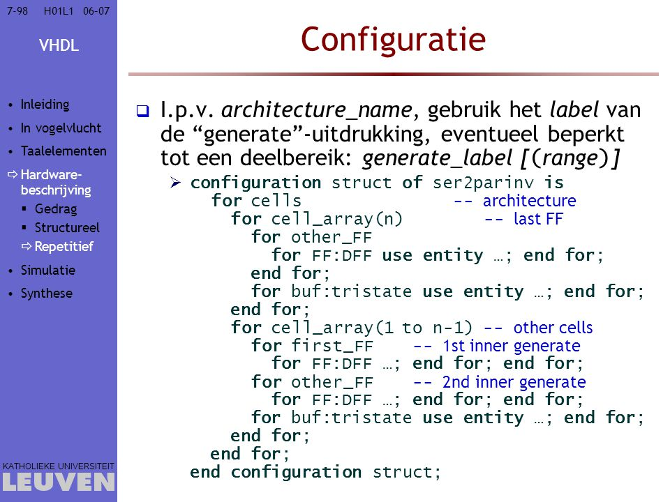 Vak - hoofdstuk Configuratie. Inleiding. In vogelvlucht. Taalelementen. Hardware-beschrijving. Gedrag.