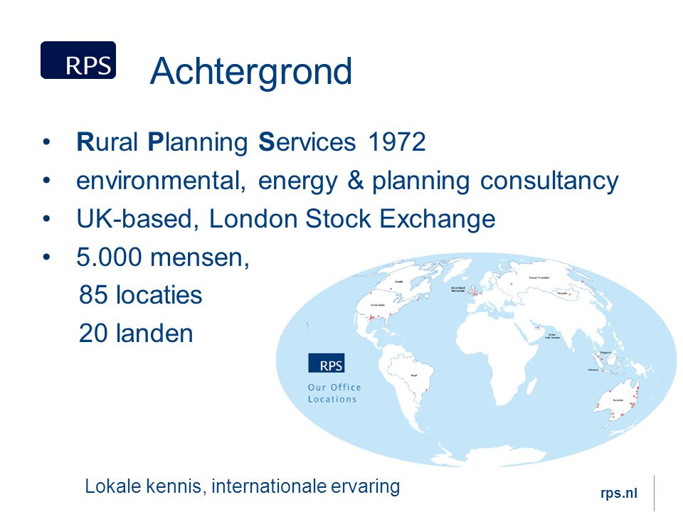 Achtergrond Rural Planning Services 1972