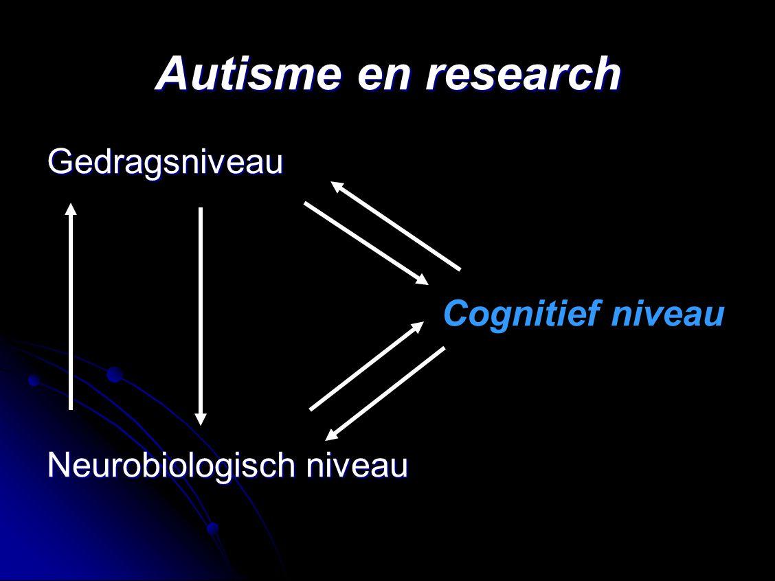 Autisme en research Gedragsniveau Cognitief niveau
