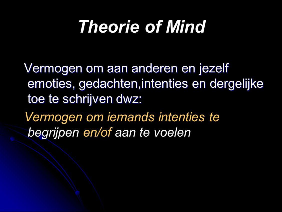 Theorie of Mind Vermogen om aan anderen en jezelf emoties, gedachten,intenties en dergelijke toe te schrijven dwz: