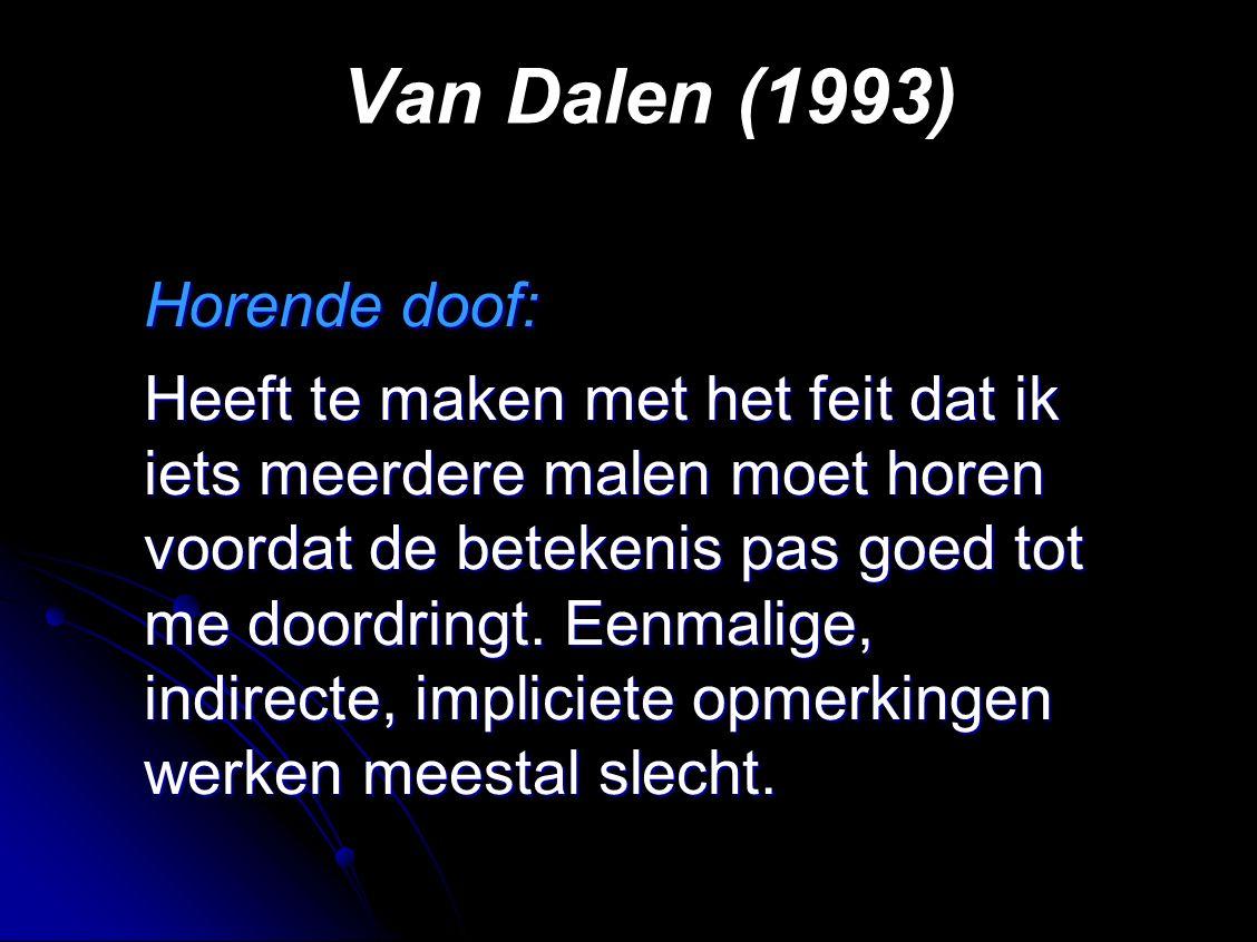 Van Dalen (1993) Horende doof: