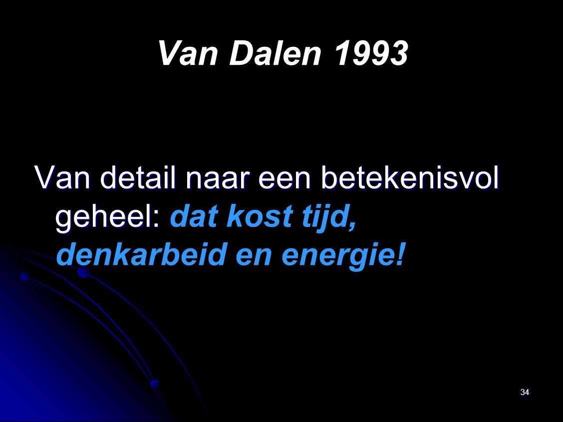 Van Dalen 1993 Van detail naar een betekenisvol geheel: dat kost tijd, denkarbeid en energie!