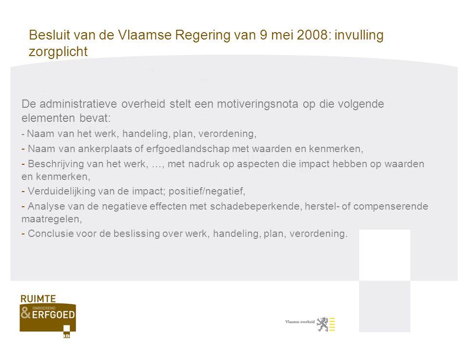 Besluit van de Vlaamse Regering van 9 mei 2008: invulling zorgplicht