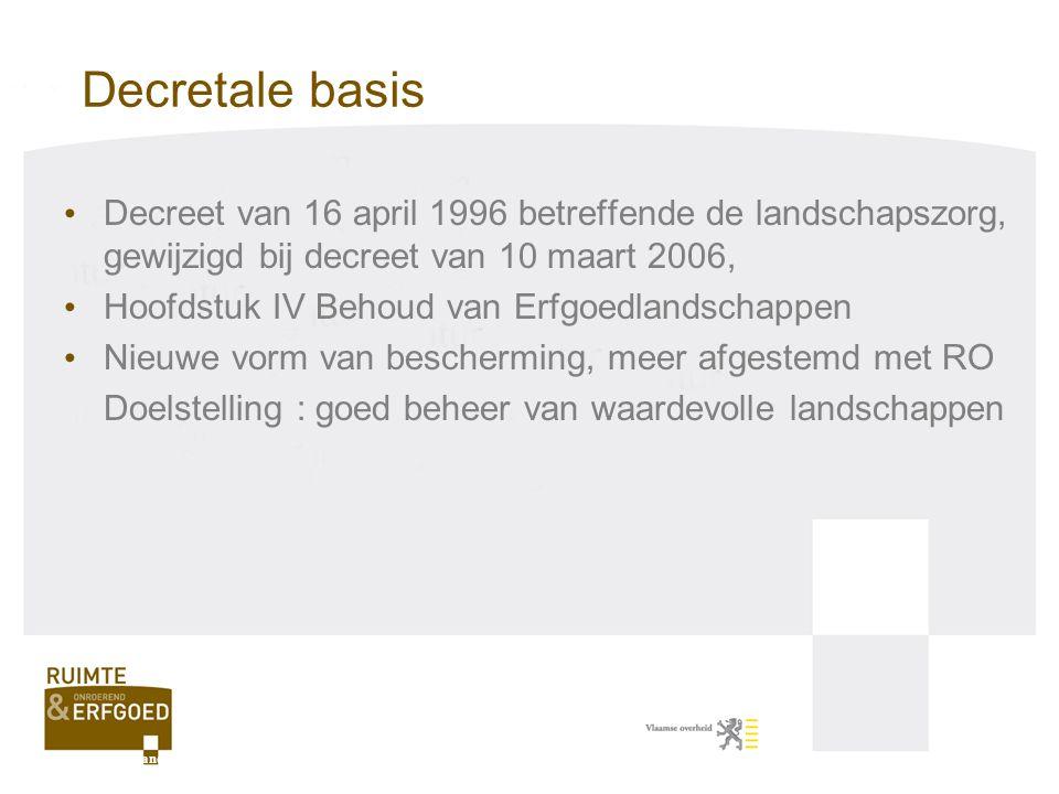 Decretale basis Decreet van 16 april 1996 betreffende de landschapszorg, gewijzigd bij decreet van 10 maart 2006,