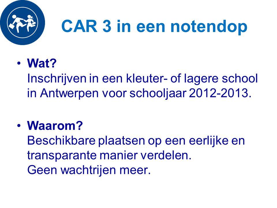 CAR 3 in een notendop Wat Inschrijven in een kleuter- of lagere school in Antwerpen voor schooljaar 2012-2013.
