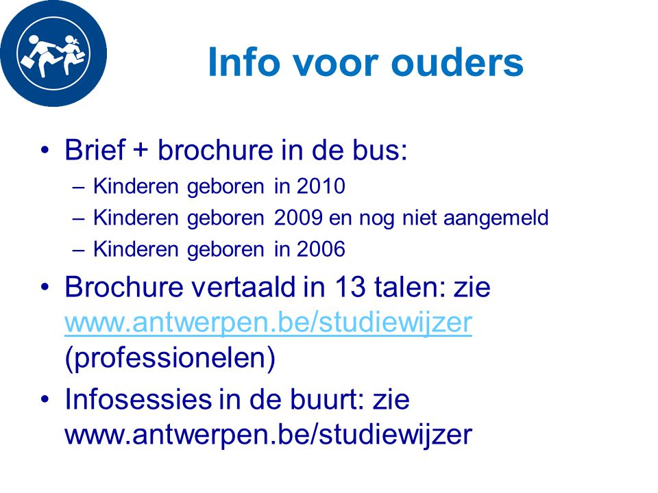 Info voor ouders Brief + brochure in de bus: