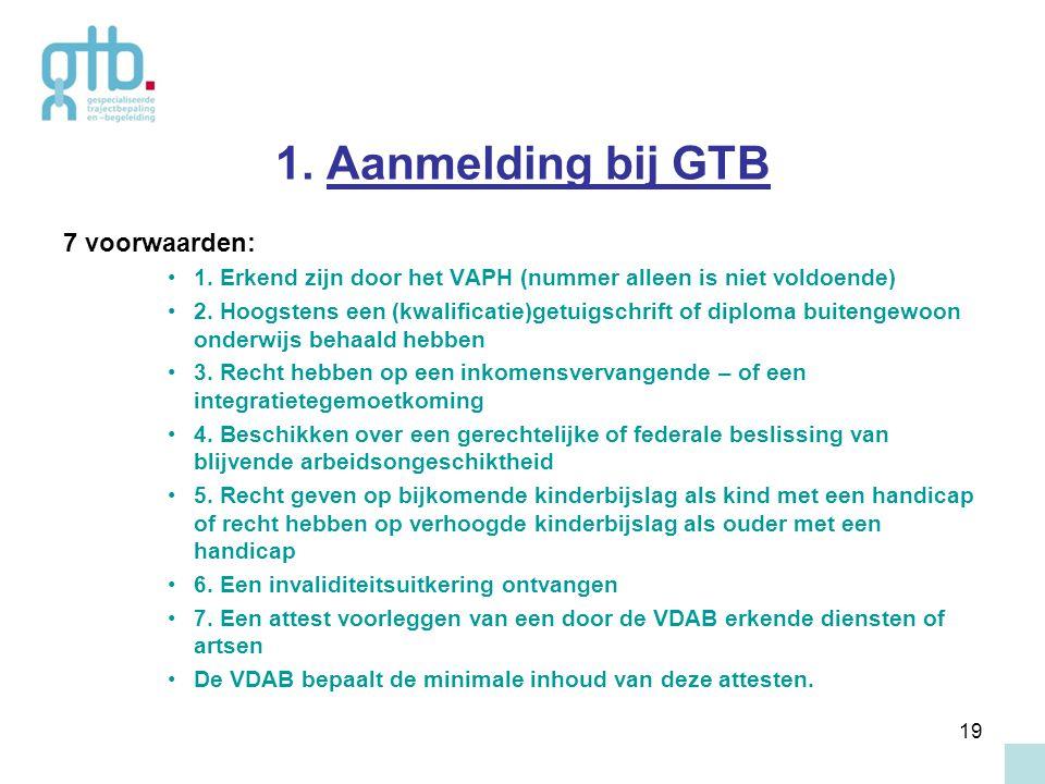 1. Aanmelding bij GTB 7 voorwaarden: