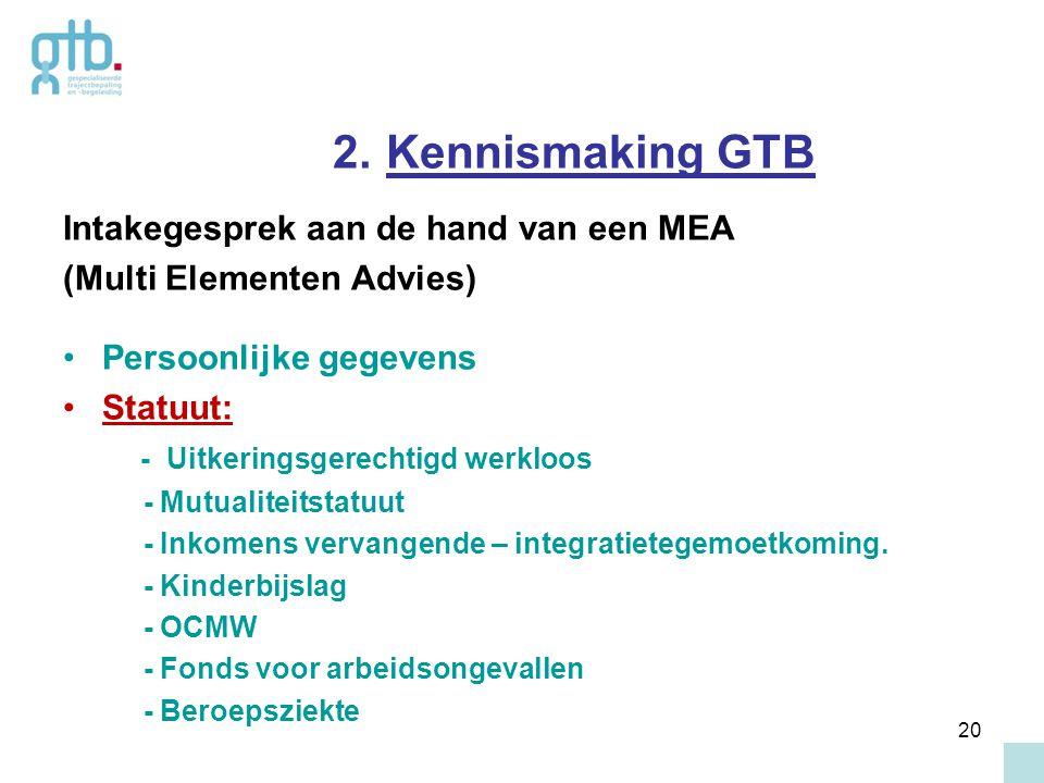 2. Kennismaking GTB Intakegesprek aan de hand van een MEA