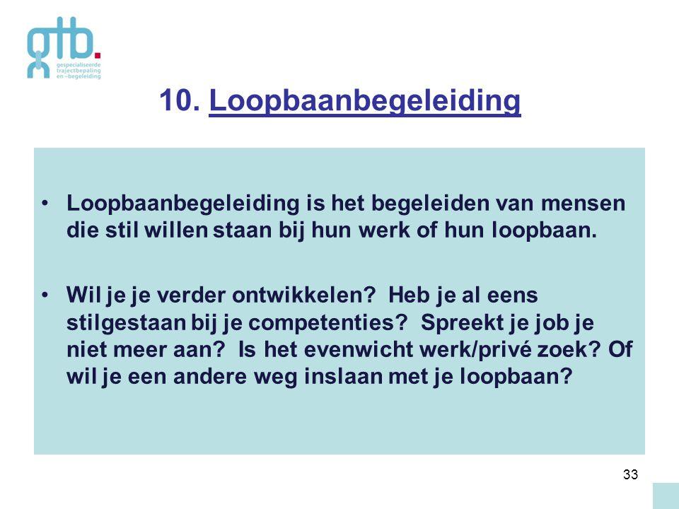 10. Loopbaanbegeleiding Loopbaanbegeleiding is het begeleiden van mensen die stil willen staan bij hun werk of hun loopbaan.