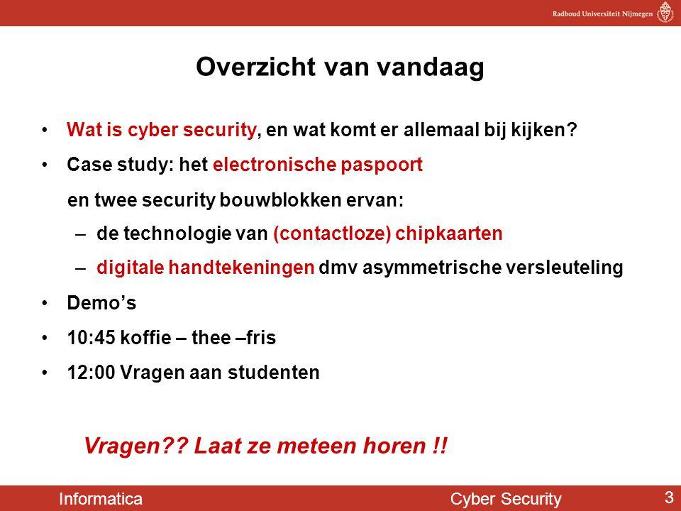 Overzicht van vandaag Wat is cyber security, en wat komt er allemaal bij kijken Case study: het electronische paspoort.