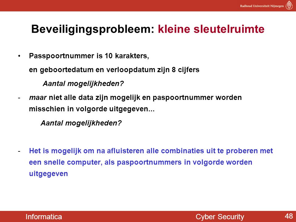 Beveiligingsprobleem: kleine sleutelruimte