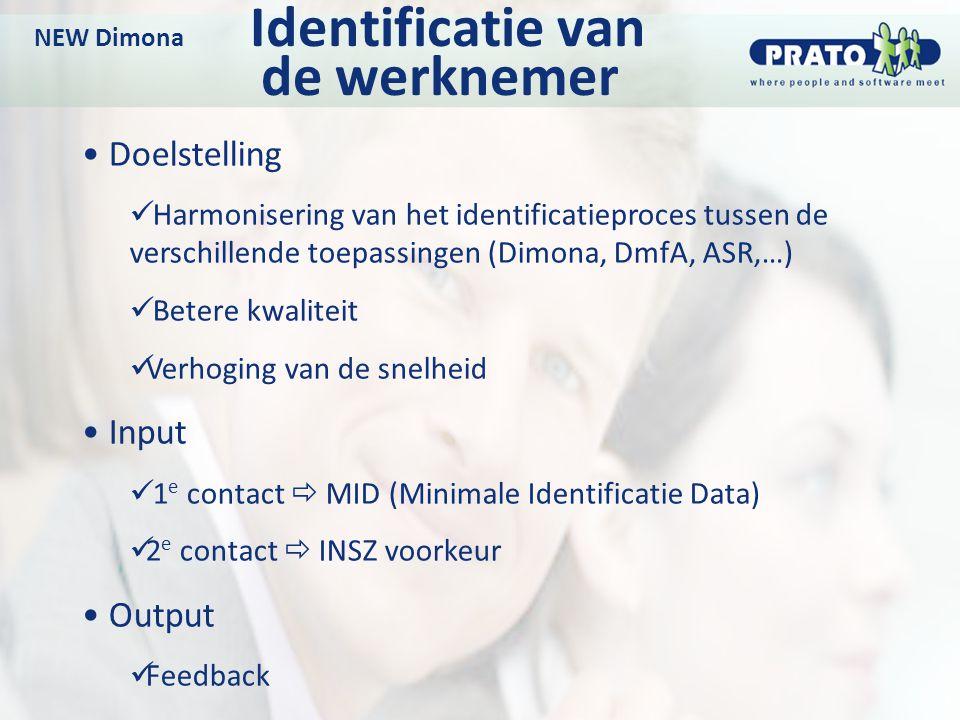 NEW Dimona Identificatie van de werknemer
