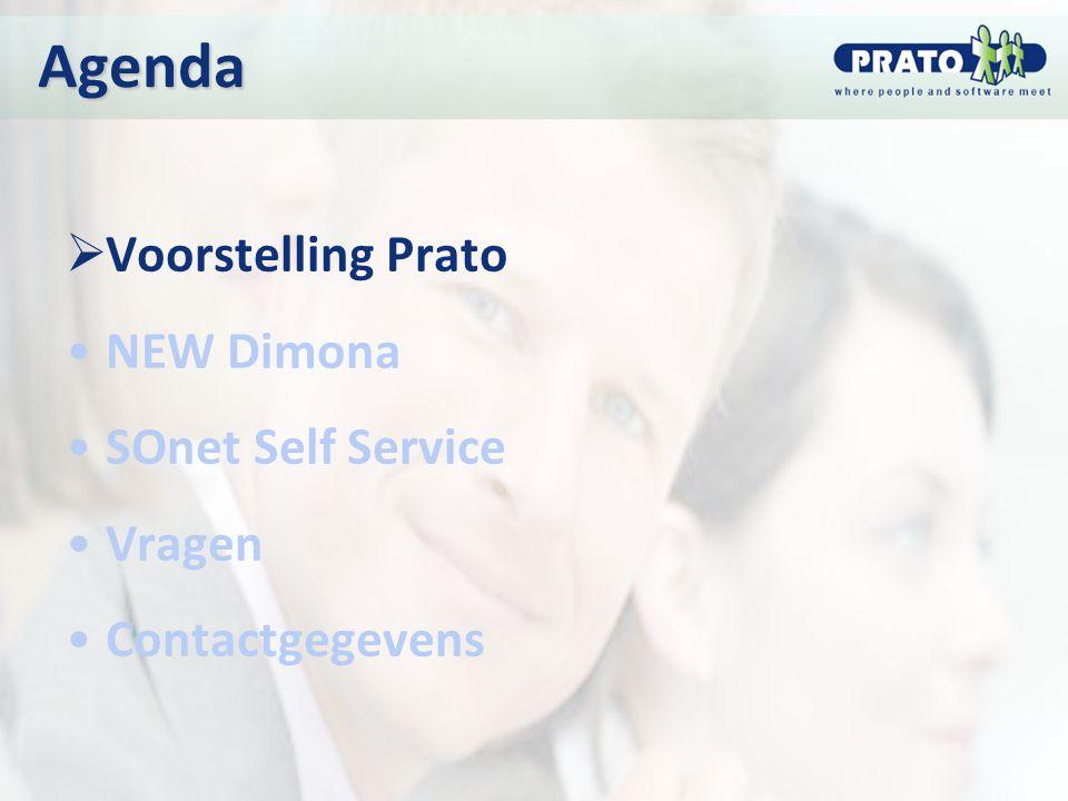 Agenda Voorstelling Prato NEW Dimona SOnet Self Service Vragen