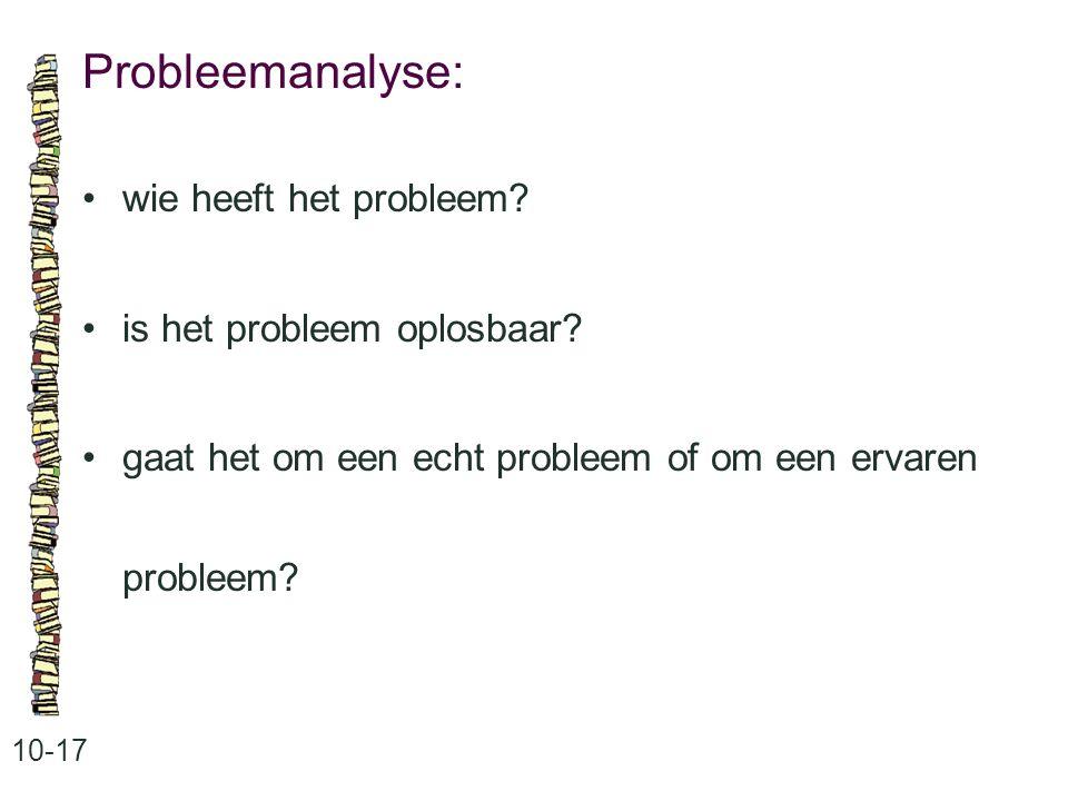 Probleemanalyse: • wie heeft het probleem