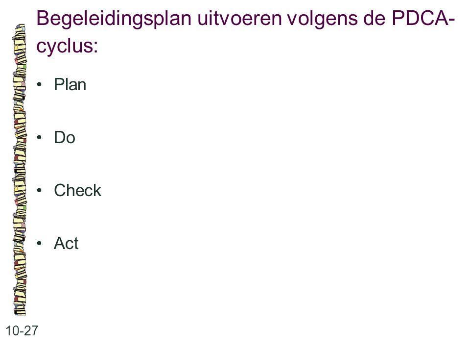 Begeleidingsplan uitvoeren volgens de PDCA-cyclus: